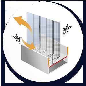 良展防蚊摺疊紗窗 - 軌道無縫設計,蚊蟲無法由縫隙間鑽入室內