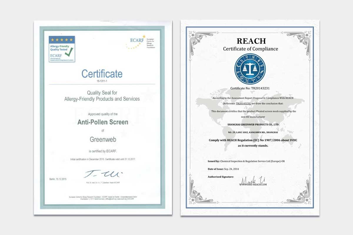 GreenWeb微塵阻隔紗網通過歐盟ECARF(歐洲防過敏基金會)與RAECH法規認證證書。